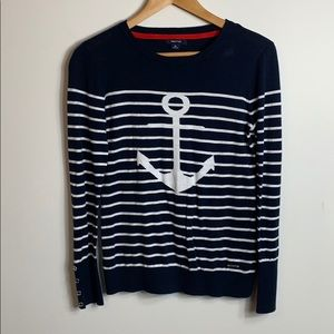 Nautica nautical striped blue Anchor sweater